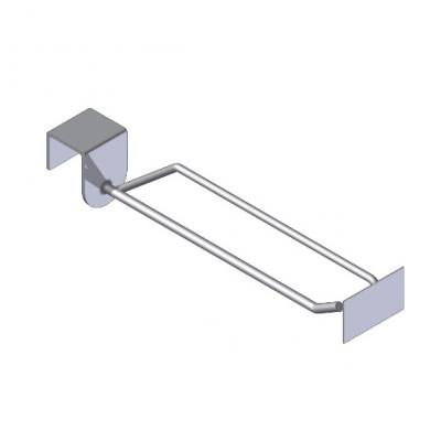 Beam-mounted display hook with label holder (metal plate)